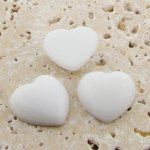 White Opaque Smooth - 18mm. Heart Domed Cabochons - Lots of 144