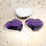 Amethyst Jewel Faceted - 18mm. Heart Cabochons - Lots of 144