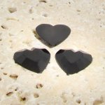 Jet Opaque Faceted - 15mm. Heart Domed Cabochons - Lots of 144