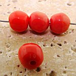 8MM CORAL GLASS BAROQUE ROUND BEADS - Lot of 12
