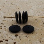 BLACK MATTE 14X3MM ROUND SPACER BEADS - Lot of 12