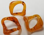 AMBER 27x27mm. SPECKLED SQUARE CURVED LINKS- Lots of 12