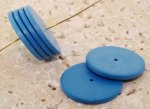 BLUE 2X23MM FLAT ROUND SPACER BEADS - Lot of 12