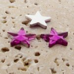 Fuchsia Jewel Faceted - 15mm. Star Domed Cabochons - Lots of 144