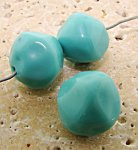 16MM TURQUOISE GLASS BAROQUE ROUND BEADS - Lot of 6