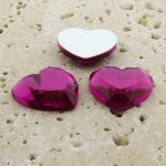 Fuchsia Jewel Faceted - 18mm. Heart Cabochons - Lots of 144