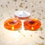 Orange Jewel - 18x13mm. Oval Faceted Gem Jewels - Lots of 144