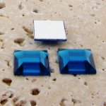 Capri Blue Jewel Faceted - 12mm. Square Cabochons - Lots of 144