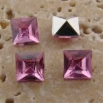 Rose Jewel - 6x6mm. Square Faceted Gem Jewels - Lots of 144