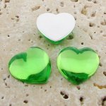 Peridot Jewel Smooth - 18mm. Heart Domed Cabochons - Lots of 144