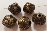 ANTIQUE GOLD 12mm UNIQUE GROOVED TRIBAL BICONE BEADS - Lot of 12