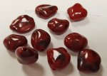 RED MARBLE - 17x15x7mm. SHINY SMOOTH NUGGET BEADS - Lots of 12