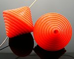 ORANGE MATTE 33X33MM GROOVED BICONE BEADS - Lot of 12