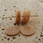BEIGE MARBLE 19X2MM FLAT ROUND SPACER BEADS - Lot of 12