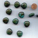 MOSS GREEN TURQUOISE - 19x19mm. FLAT NUGGET BEADS - Lots of 12