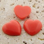 Coral Opaque Smooth - 18mm. Heart Domed Cabochons - Lots of 144
