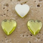 Jonquil Jewel Faceted - 15mm. Heart Cabochons - Lots of 144