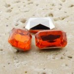 Orange Jewel - 14x10mm. Octagon Faceted Gem Jewels - Lots of 144