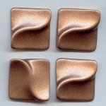 33x33mm. BRONZE GLITTER TEXTURED SQUARE CABOCHONS - Lot of 36