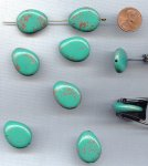 GREEN TURQUOISE BRONZE - 25x20mm. FLAT DROP BEADS - Lots of 12