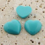 Turquoise Opaque Smooth - 18mm. Heart Cabochons - Lots of 144