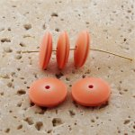 APRICOT WASH MATTE 17X6MM ROUND SPACER BEADS - Lot of 12