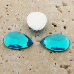 Aqua Jewel Faceted - 13x8.5mm. Pear Cabochons - Lots of 144