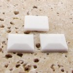 White Opaque Faceted - 15mm. Square Cabochons - Lots of 144