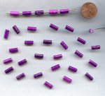 PURPLE GOLD DRIZZLE 10x4mm. TUBE BEADS - Lots of 24