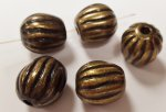 ANTIQUE GOLD 17x16mm. TAPERED GROOVED MELON BEADS - Lots of 12