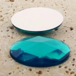 Blue Zircon Multi Faceted - 40x30mm. Oval Cabochons - Lots of 12