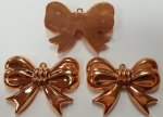 COPPER COATED 50x40mm. BOW RIBBON FLAT BACK PENDANTS - Lot of 12
