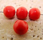 12MM CORAL GLASS BAROQUE ROUND BEADS - Lot of 12