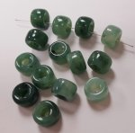 JADE MARBLE 6x9mm. SHINY PONY SPACER BEADS - Lots of 12