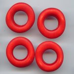 RED MATTE WASH 28MM DONUT UNIQUE SHAPED BEADS - Lot of 12