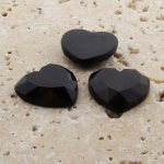 Jet Opaque Faceted - 18mm. Heart Domed Cabochons - Lots of 144