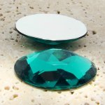 Teal Jewel Faceted - 40x30mm. Oval Domed Cabochons - Lots of 12