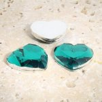 Teal Jewel Faceted - 18mm. Heart Domed Cabochons - Lots of 144