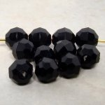 JET 6MM ROUND FACETED BEADS - Lot of 50