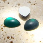 Emerald Matte Frosted - 18x13mm. Pear Cabochons - Lots of 144