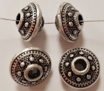 ANTIQUE SILVER 9x14mm. ETCHED TRIBAL SAUCER BEADS - Lots of 12