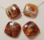 BROWN MARBLE 16x4mm. OVERLAPPING DIAMOND SHAPE BEADS - Lot of 12