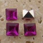 Fuchsia Jewel - 6x6mm. Square Faceted Gem Jewels - Lots of 144