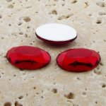 Ruby Jewel Faceted - 25x18mm. Oval Domed Cabochons - Lots of 72