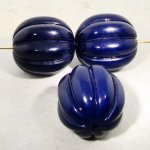 BLUE 24x23MM OVAL MELON FLUTED BEADS - Lot of 12