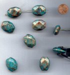 BRONZE TURQUOISE GOLD 25x20mm. FLAT OCTAGON BEADS - Lots of 12