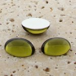 Olivine Jewel - 40x30mm. Oval Domed Cabochons - Lots of 12