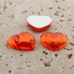 Orange Jewel Faceted - 18mm. Heart Domed Cabochons - Lots of 144