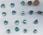 Aqua Jewel Faceted Framed - 15mm. Heart Cabochons - Lots of 72