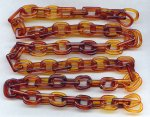 "Tortoise Amber Rectangle & Oval 16mm. Cable Chain - 39"" per Lot"
